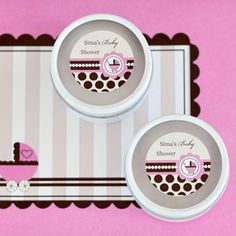 Personalized Round Candle Tins - Pink Baby