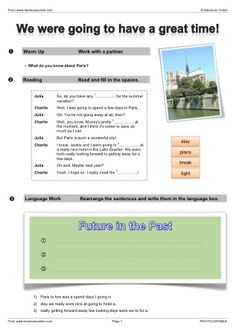 Future Tense English Worksheets, activities and lesson plans from Handouts Online.
