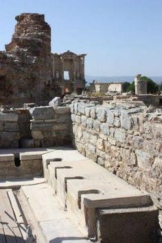 ancient toilets at Ephesus (ancient Greek ruins in Turkey)