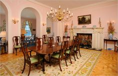 """All Kinds of Flooring -- Flowered rug on wood from 3/20/13 blog """"Your Dream Dining Room"""""""