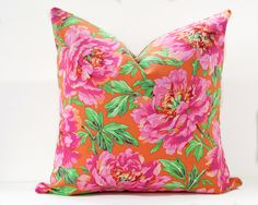 Floral pillow cover - Orange Pink Fuchsia Green toss pillow cushion, Hot pink Floral Rose Peony toss accent pillow, Bright floral pillow by InkAndLinenCo on Etsy https://www.etsy.com/ca/listing/494165647/floral-pillow-cover-orange-pink-fuchsia