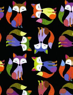 Shop | Category: Children's Fabric | Product: TIMELESS TREASURES Foxes on Black, Bright Green, Purple and Orange Foxes on Black Background