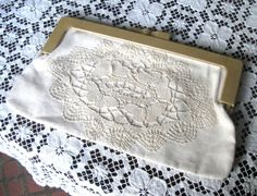 Vintage Hand Crocheted  Canvas Ivory  Clutch/Purse Italy #Clutch