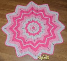Crocheted Round Ripple Baby blanket - Shades of Pink