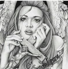 Chicano Drawings, Sexy Drawings, Chicano Art, Angel Devil Tattoo, Angel And Devil, Thrasher, Gangster Tattoos, Angel Drawing, Line Artwork