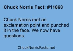 Chuck Norris met an exclamation point and punched... | ChuckNorrisFacts.net