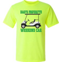 Dad Golfing T-Shirt has golf cart design with Dad's Favorite Weekend Car quote for Father's Day gift giving. $17.99 www.personalizedfamilytshirts.com  #Dad