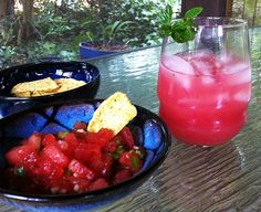 "Watermelon Agua Fresca, & Watermelon Salsa. Drink local and fresh with homemade agua fresca: the ""fresh water"" drink popular in Mexico. This version uses just #watermelon, lime juice, and mint. This healthy alternative to sodas or powdered drink mixes also makes quick work of extra watermelon. Spike it with vodka or rum if the spirits move you.   Link also gives recipe for watermelon salsa."