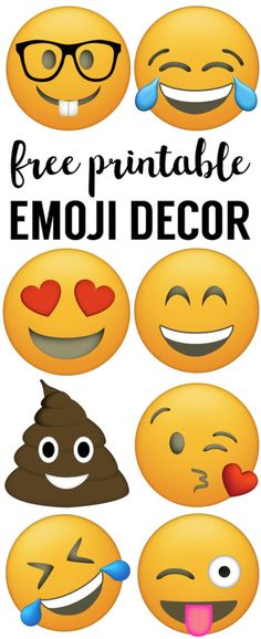 Emoji Faces Printable {Free Use for JOY fruit of the spirit! Emoji party decorations for a birthday party, baby shower, or for teenage bedroom decorations. Make an emoji banner. Party Emoji, Emoji Party Decor, Emoji Decorations, Birthday Decorations, Emoji Gratis, Free Emoji Printables, Pyjamas Party, Vip Kid, Ideas Para Fiestas