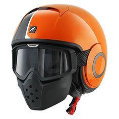 Shark Raw Stripe Helmet Been lookin at this one too Shark Helmets, Open Face Motorcycle Helmets, Motorcycle Riding Gear, Scrambler Motorcycle, Biker Helmets, White Motorcycle, Scooter Helmet, Black Helmet, Custom Helmets