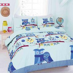 Cute Owls Blue Printed Duvet Quilt Cover Bedding Set — Linens Range