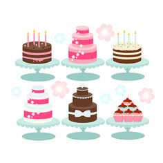 Cake clipart - cakes, bakery, cupcakes, birthday candles, pink, brown, blue digital clipart for personal and commercial use
