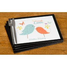 Personalised Live, Laugh & Love Glass Placemats Set Of 4
