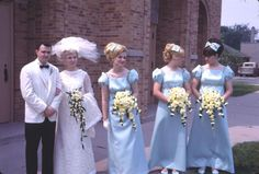 I was married in June 1968 and this looks just like the style everyone wore with pastel bridesmaids gowns...
