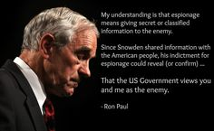 Ron Paul on Edward Snowden and espionage - nailed it!