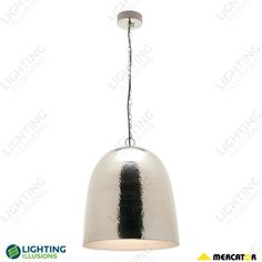 Large Bombay Hammered Metal Chrome Pendant Light - Shop Chandeliers, Shop Lighting, Illusions, Light Bulb, Chrome, Light Pendant, Pendant Lighting, Pendants, Ceiling Lights
