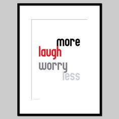 """Laugh more worry less - Inspirational typography poster wall art print black red white motivational wall decor A4 or 8"""" x 10"""" - pinned by pin4etsy.com"""