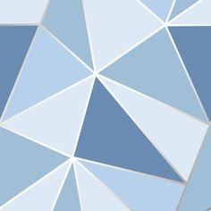 Apex Geometric Wallpaper Blau Feines Dekor - For the Home Blue Wallpaper Bedroom, Dark Blue Wallpaper, Trendy Wallpaper, Blue Wallpapers, Wallpaper Roll, Pattern Wallpaper, Hd Backgrounds, Wall Wallpaper, Geometric Wallpaper Metallic