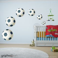FOOTBALL SOCCER BALLS - Set of 6 -  Printed Wall Decals