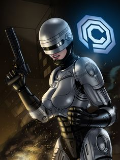 Femme Robocop painting by uncredited artist