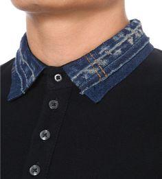 DIESEL - T-serpico denim-collar polo shirt | Selfridges.com