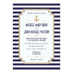 Navy Blue and White Stripes Stylish Nautical Anchor Summer Wedding Invitations