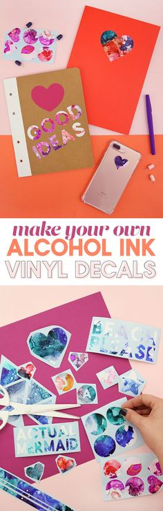 learn how to make cool abstract alcohol ink art on vinyl and turn it into awesome colored decals