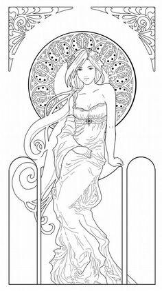 Art Nouveau Coloring Pages Free - Yahoo Image Search Results Coloring Book Pages, Printable Coloring Pages, Motifs Art Nouveau, Illustration, Alphonse Mucha, Free Coloring, Kids Colouring, Colorful Pictures, Line Art