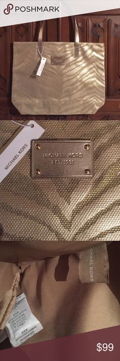 """NWT Lg Michael Kors tote !!!! Awesome bag!!! This is a large gold Michael Kors tote bag new with tags never used. It measures approximately 17"""" x 13"""" by 4 inches not including the straps. It has the Michael Kors embossed tag on the front and the fabric tag inside. This is an authentic Michael Kors tote bag. See photos for details. Michael Kors Bags Totes"""