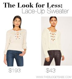 awesome The Look for Less: Lace-Up Sweater Check more at http://www.vahset.net/the-look-for-less-lace-up-sweater/