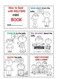 How to Deal with Bullies Mini Book by Buckeye School Counselor Anti Bullying Lessons, Anti Bullying Week, Anti Bullying Activities, Social Skills Activities, Counseling Activities, Bullying Worksheets, Emotions Activities, Elementary School Counseling, School Social Work