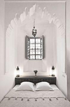 Moroccan bedroom nook found in Dar Hanane Hotel located in Marrakech