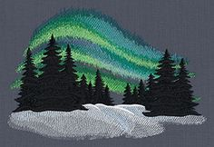 This would look awesome with our Blue/Green thread palette. http://store.myenmart.com/bluegreen-palette---polyester-embroidery-thread-5500-yard-cones-p956.aspx Aurora Borealis design (UT7301) from UrbanThreads.com
