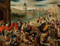 """MARTIN VAN CLEVE (1527-1581) La fête de la Saint Martin Panneau 95 x 113 cm Martin Van Cleve (1527-1581) a fait partie avec Pieter Balten (1524-1598) des peintres dits """"brueghéliens"""". Ils étaient tous… - Massol - 11/03/2016"""