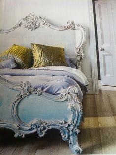 Silver Rococo Bed