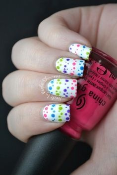 Polka Dots Stripes. Cut a toothpick in half then dip in nail polish, use both ends of the toothpick for small and large dots. Then voila!