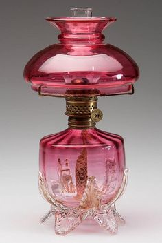 PANEL-OPTIC VICTORIAN CRANBERRY GLASS MINIATURE LAMP