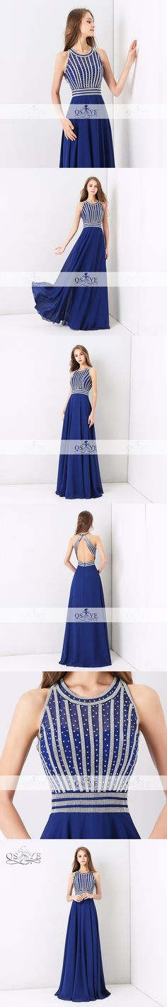 Royal Blue Long Prom Dresses 2018 QSYYE New Robe de Soiree Silver Beaded Floor Length Chiffon Formal Evening Party Gown Custom