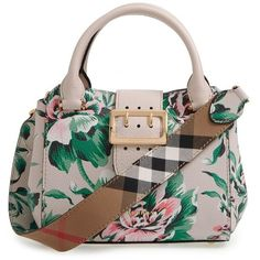 Women's Burberry Small Buckle Floral Calfskin Leather Satchel ($2,150) ❤ liked on Polyvore featuring bags, handbags, emerald green, brown satchel purse, burberry, satchel handbags, oversized purses and handbag satchel