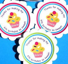 PRINTABLE Cupcake Labels for Stickers,  Tags, cupcake toppers or small party banners! by ladybuglabels