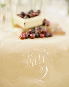 chalk on kraft paper table numbers