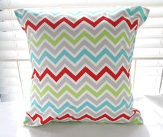 "Children Kids Pillow Cover  Baby Nursery home Decor Boy Girl 18"" x 18"" Girly Blue Green Gray Red Chevron Stripe. $16.00, via Etsy.- love this color combo"