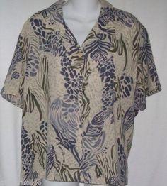 Hearts of Palms Blouse Size 18 Camp Shirt Top Blues Black Print