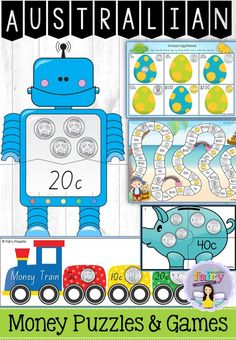 Money Centres Years {Games & Activities} Fun Australian money puzzles and games! Focuses on identifying, ordering and counting small collections of coins and notes. Great for Year 1 and Year Money Activities, Money Games, Kindergarten Activities, Teaching Money, Teaching Math, Teaching Resources, Teaching Ideas, Primary Teaching, Australian Money