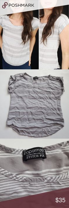 Paper moon for Stitch Fix striped crop tee - C3 Adorable Paper Moon for Stitch Fix crop top, size XS. Loose fit. Used item, pictures show any signs of wear or use. Bundle up! Offers are always welcome. :)  Shop my husband's closet!: @kirchingeraaron Papermoon Tops