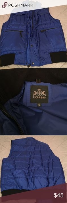 Men's Large Express Vest Men's Large Express Vest, darker blue with black cotton detailing. In good condition, all zippers buttons work. Express Jackets & Coats Vests