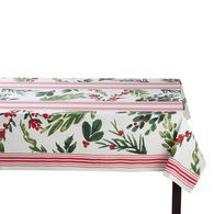 """Set the table with holiday beauty. 100% cotton tablecloth features printed design of holiday greenery contrasted with classic red stripes against a white background that is sure to match any decor. Create a beautiful canvas for your holiday dinnerware. 84"""" x 60"""" x 0.13"""""""