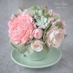 Teacup Flowers, Clay Flowers, Fake Flowers, Small Flowers, Beautiful Flowers, Small Flower Arrangements, Artificial Floral Arrangements, Funeral Flower Arrangements, Funeral Flowers
