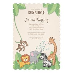 """These safari theme baby shower invitations feature different jungle animals having a party! An elephant with a """"shower"""" of water and hearts from the trunk, a playful monkey swings from a vine, a sitting zebra and jumping lion smile with delight, and a kindly giraffe overlooks the whole thing. Wording is 100% personalizable. An adorable safari/jungle/zoo theme for new baby boy or girl in a modern and chic but still very cute design! Original artwork by Colleen Michele."""