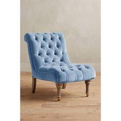 Velvet Orianna Slipper Chair ($948) ❤ liked on Polyvore featuring home, furniture, chairs, accent chairs, light blue, light blue accent chair, ship furniture, velvet tufted chair, handcrafted furniture and velvet slipper chair